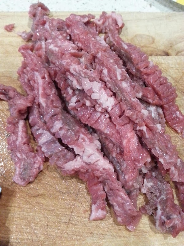I use tenderized skirt streak but you don't have to.  Cut meat into...