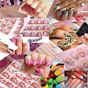 Collection nails art designs icon