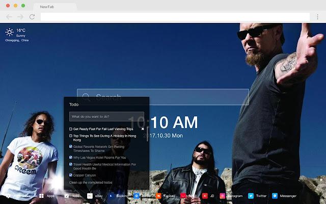 Metallica pop music HD new tab page theme