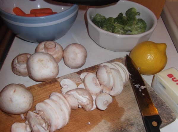 Prepare mushrooms, carrots, broccoli and lemon as noted above.
