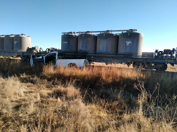 A goods train collided with a bakkie at a level crossing early on Thursday in the Free State.