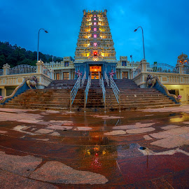 Arulmigu Balathandayuthapani Temple by Ah Wei (Lung Wei) - Buildings & Architecture Places of Worship ( samyang, clouds, fisheye, sunrises, george town, blue hour, penang bridge, malaysia, dove jetty, penang island, frontground, landscape, samyang 12mm f2.8, penang waterfall temple, temple, samyang 12mm f/2.8 ed as ncs fisheye, george town penang, pulau pinang, arulmigu balathandayuthapani temple, penang, defish, sunrise )