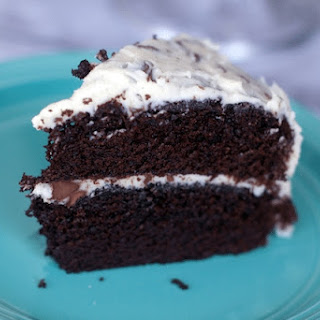 Moist Chocolate Cake with Chocolate Chip Frosting.