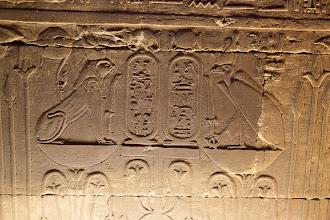Photo: Horus temple, Edfu - Cartouche of Ptolemy IV ?