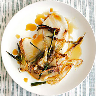 """Sole Fillets with Spring Onion """"Hay""""."""