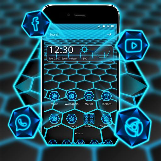 Neon Light Hexagon Theme