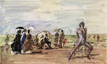 Photo: Richard the Nudist art bombs the masters. Those ladies didn't know they had come to a clothing optional beach! Life drawing sketch added to vintage print of Boudin sketch.
