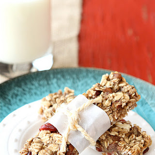 Low Fat Granola Bars with Bananas, Cranberries & Pecans.