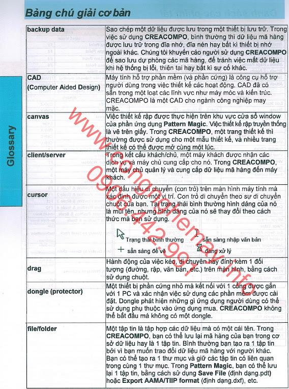Short-cut Keys và Glossary Cơ Bản Phần Mềm CREACOMPO Toray-ACS 6