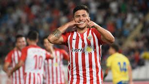 Narváez celebra su gol a Las Palmas.