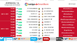 Horarios de la jornada 16 en Segunda División.