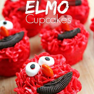 Mini Elmo Cupcakes