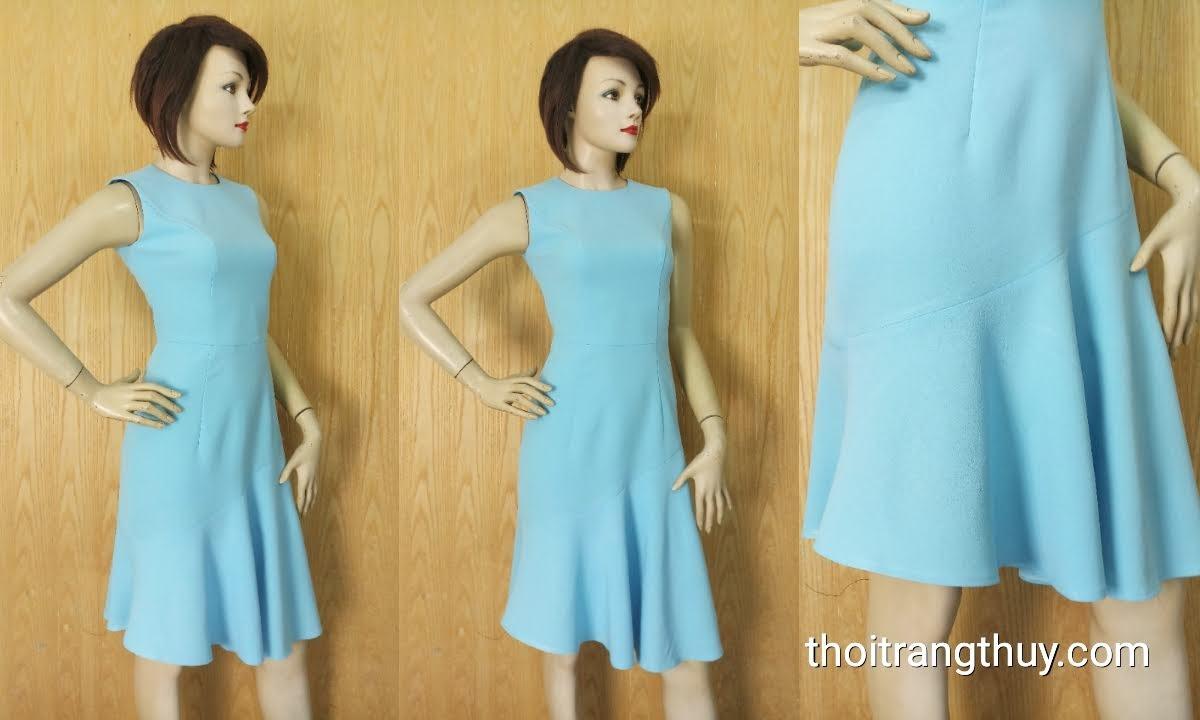 Váy xòe đuôi cá màu xanh ngọc mặc dạo phố V634 Thời Trang Thủy