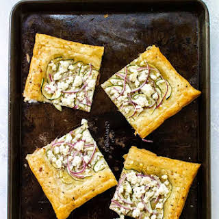 Zucchini & Goat Cheese Puff Pastry Tart.