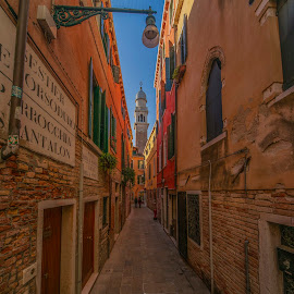 Venice narrow street by Yordan Mihov - City,  Street & Park  Neighborhoods ( doors, outdoor, venice, italia, urban, street, buildings, venezia, window, day, italy, stone )