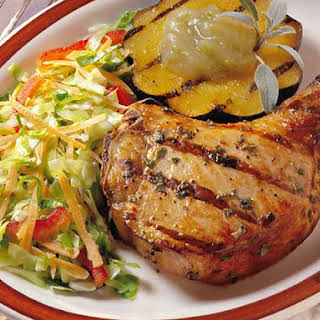 Maple-Pepper Chops With Sizzling Applesauce.