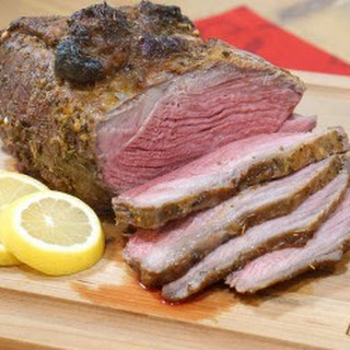 Greek Marinated Sirloin Tip Roast with Horseradish Tzatziki Sauce