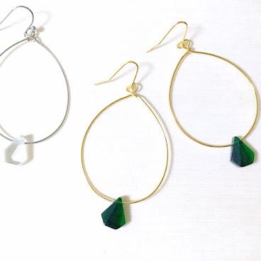 玻璃石手作純銀耳環