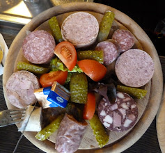 Photo: Fred's lunch; the sausages are all home-made (Jens' brother is a butcher)