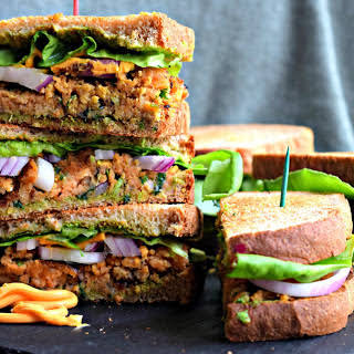 Indian-Spiced Red Lentil Patty Sandwich [Vegan].