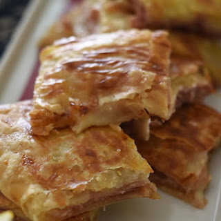 Brunch Pastry with Tuscan ham, Gruyere cheese and caramelized onions.