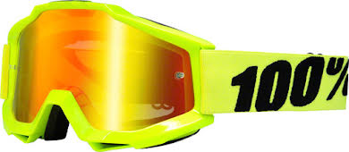 100% Accuri Goggle, Fluo Yellow with Mirror Red Lens, Spare Clear Lens Included