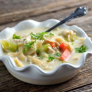 Easy Creamy Chicken Noodle Soup.