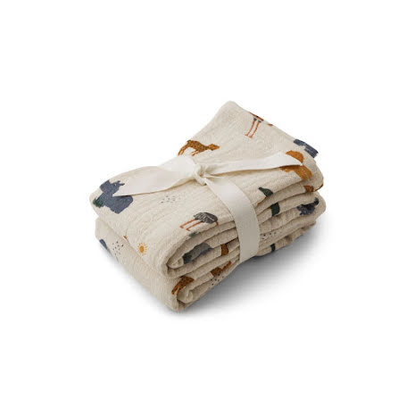 Liewood Muslin Cloth 2 Pack - Safari sandy mix
