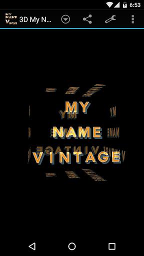 3D My Name Vintage Wallpaper