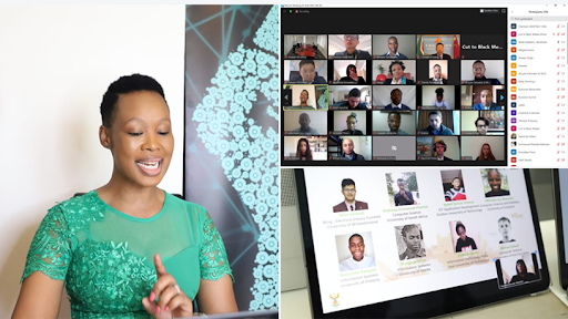 Communications minister Stella Ndabeni-Abrahams and the 2020 Seeds for the Future cohort.