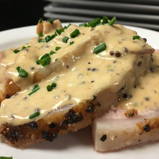 Pressure Cooker Pork Loin with Mustard and Cream.