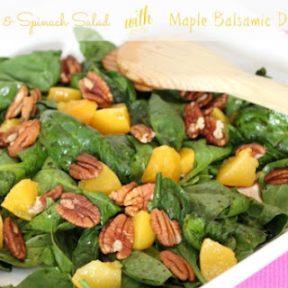 Peach & Spinach Salad with Maple Balsamic Dressing.
