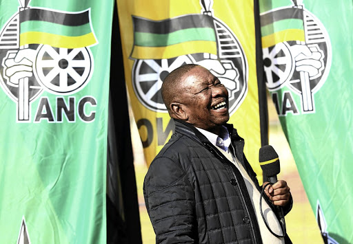 SACP general secretary Blade Nzimande in a light-hearted mood on the sidelines of the ANC policy conference at Nasrec, outside Soweto, yesterday Picture: MASI LOSI