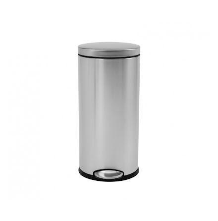 Klassisk rund pedaltunna på 30 liter, borstat  stål