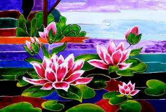 Photo: 106, Нетронина Наталья, Лилии на воде, Витражные краски, контуры, фольгированный картон (витражные картины), 35х28см,