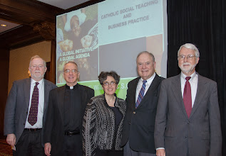 Photo: Conference Academic Speakers:  Dr Michael Naughton, Fr Oliver Williams C.S.C., Dr. Mary Gentile, Dr Kenneth Goodpaster and Dr George Brenkert