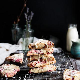 White Chocolate Raspberry Rhubarb Scones.