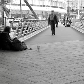 Two sides to city life by Brian Egerton - People Street & Candids ( city life, street scene, city, street, homeless, black and white, street photography )
