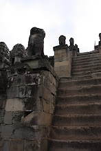 Photo: Year 2 Day 44 -  Very Steep Worn Steps to the Top of Phnom Bakheng