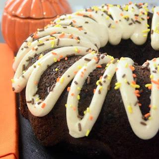 Chocolate Bundt Cake with Pumpkin Spice Frosting
