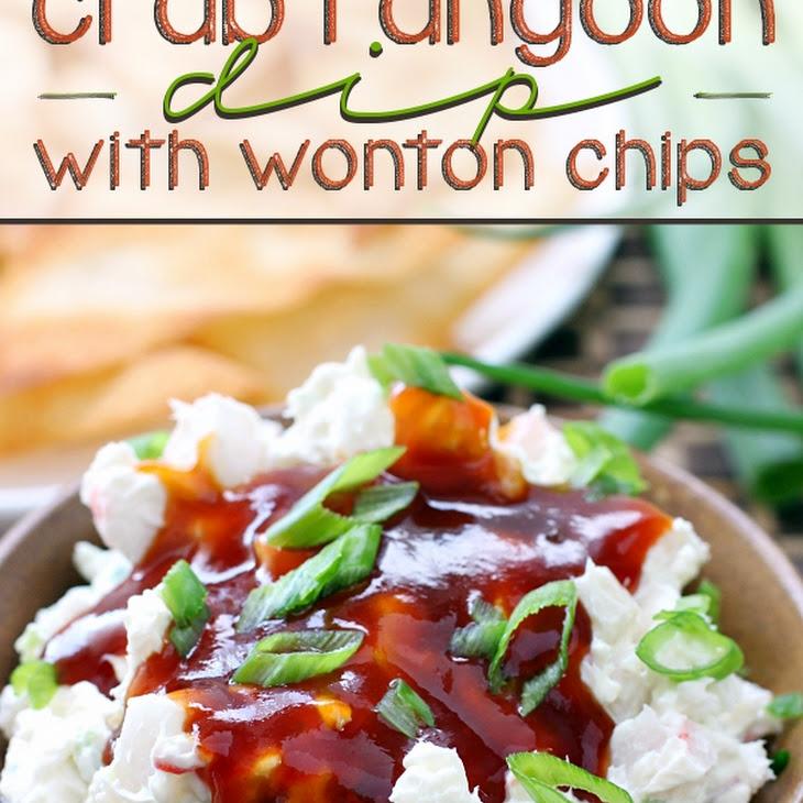 Crab Rangoon Dip with Wonton Chips Recipe