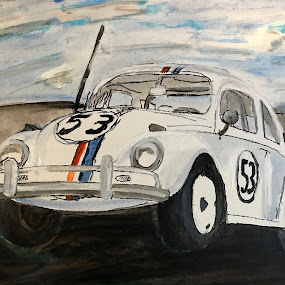 Volkswagen Beetle by Raymond Paul - Illustration Products & Objects ( rally, vw, punch buggy, vintage, bug, classic, beetle, volkswagen )
