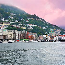 Bergen  by Hemin Ahmed - Uncategorized All Uncategorized ( sky, ships, city, mount, sea )
