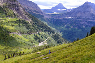 Photo: 2-3 miles to go - We started and ended at Logan Pass. The Going to the Sun Road can be seen below, winding its way up to Logan Pass.