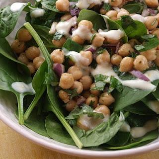 Chickpea & Spinach Salad w/ Cumin Dressing.