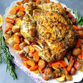 Lemon Roasted Chicken with Potatoes Carrot and Onion.
