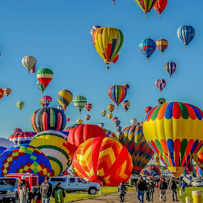 Early morning launch by Ruth Sano - Transportation Other ( balloon fiesta, albuquerque, launch, hot air balloons, new mexico,  )