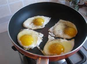 Meanwhile heat butter in pan till foaminy crack eggs, turn to low s&p and...