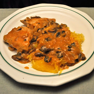 Chicken Breasts with Mushroom Sauce on Spaghetti Squash.