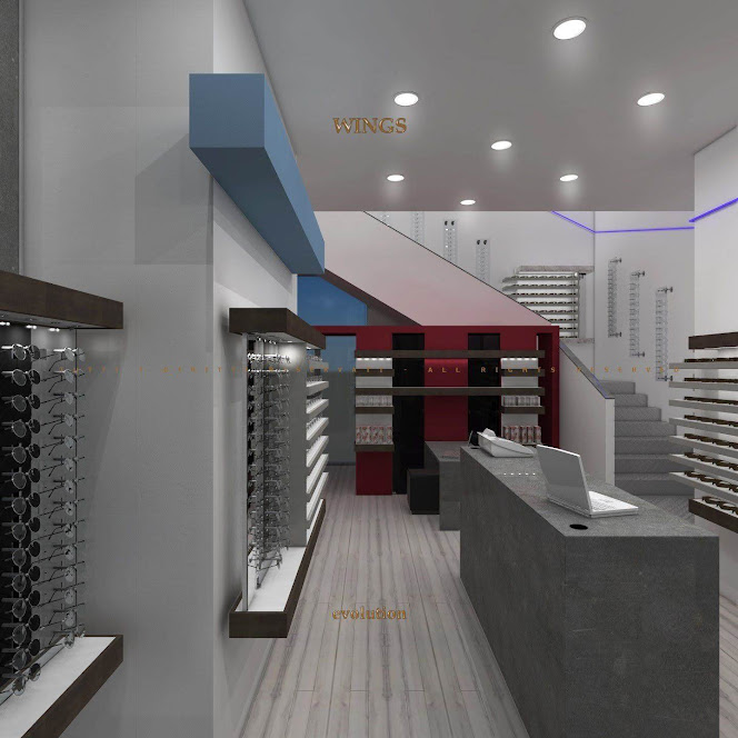 thiết kế cửa hàng kính mắt hiện đại